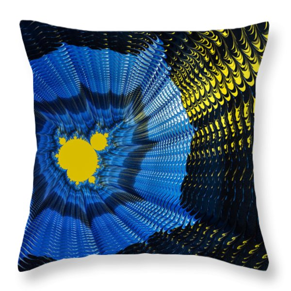 Field of force - yellow blue and black abstract fractal art Throw Pillow by Matthias Hauser