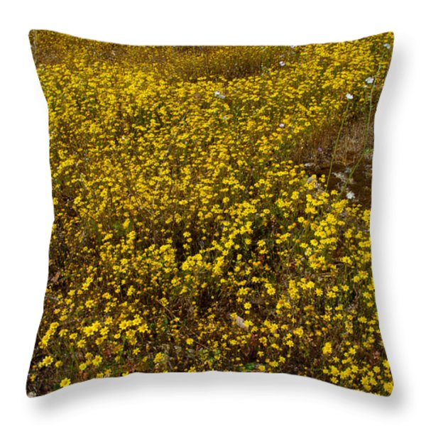 Field Of Goldfields In Park Sierra-ca Throw Pillow by Ruth Hager