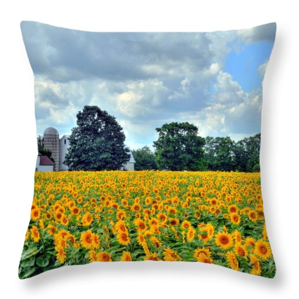 Field Of Sunflowers Throw Pillow by Kathleen Struckle