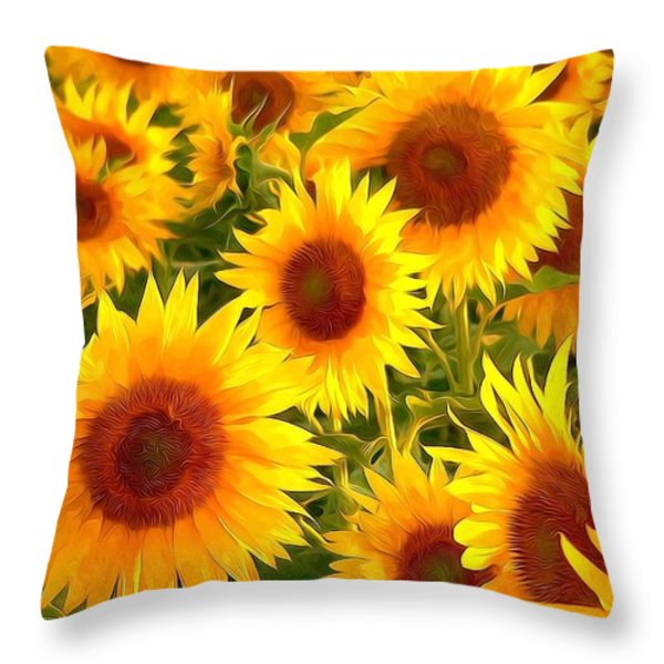 Field Of Sunflowers Throw Pillow by Lanjee Chee