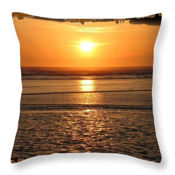 Fiery Cannon Beach Sunset Throw Pillow by Will Borden
