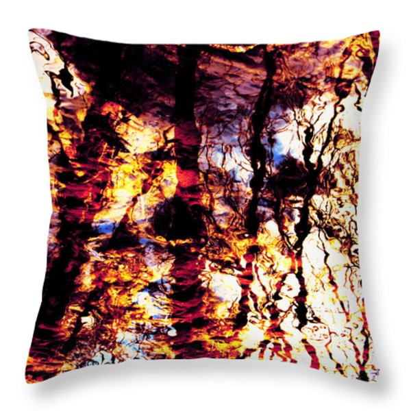 Fiery Reflections Throw Pillow by Shawna  Rowe