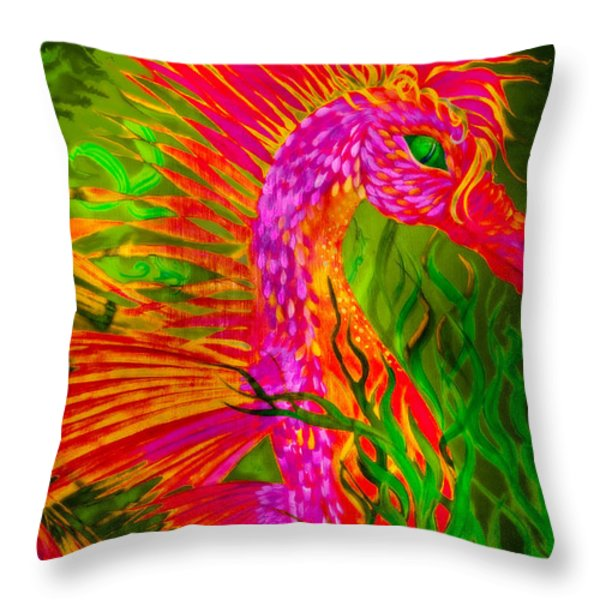 Fiery Sea Horse Throw Pillow by Adria Trail