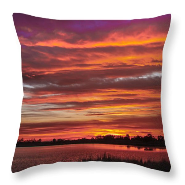 Fiery Sunset Throw Pillow by Robert Bales