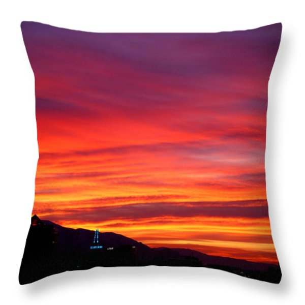Fiery Sunset Throw Pillow by Rona Black