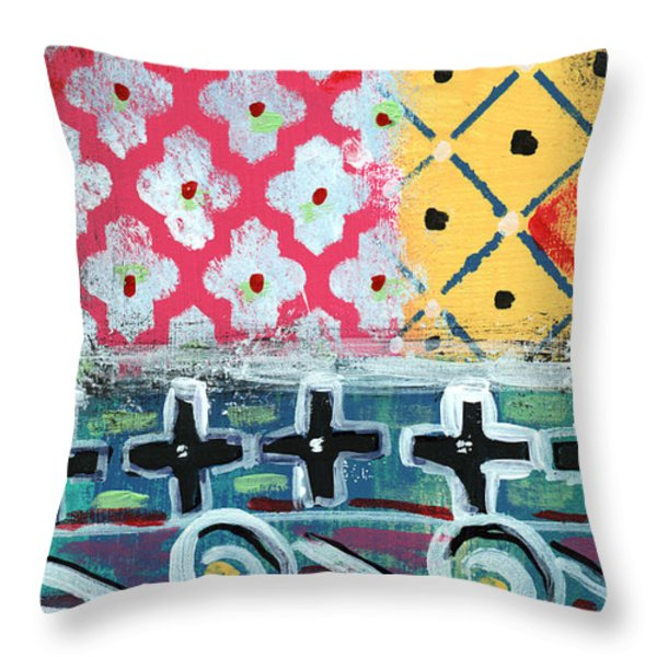 Fiesta 6- colorful pattern painting Throw Pillow by Linda Woods
