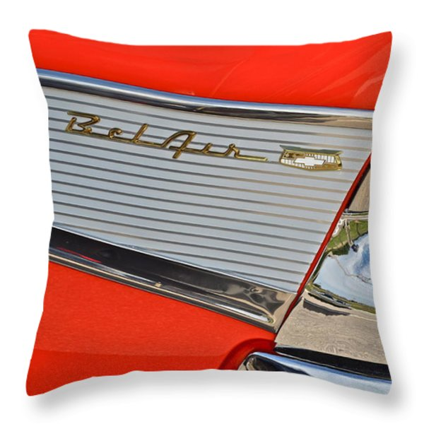 Fifty Seven Chevy Bel Air Throw Pillow by Frozen in Time Fine Art Photography