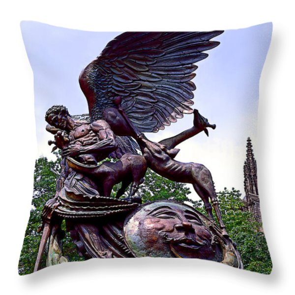 Fighting Angel Throw Pillow by Terry Reynoldson