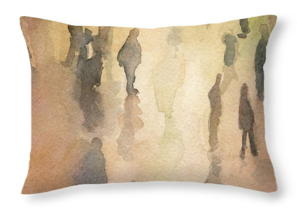 Figures Grand Central Station Watercolor Painting Of Nyc Throw Pillow by Beverly Brown Prints