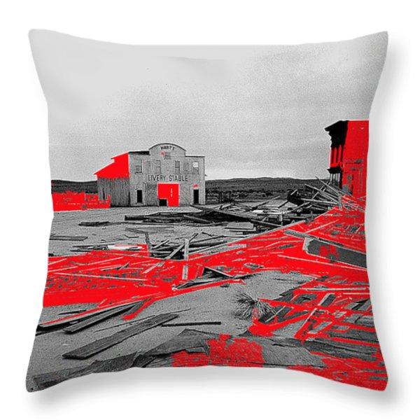 Film homage High Plain Drifter 1973 Monte Walsh set windstorm Mescal Arizona 1969-2012 Throw Pillow by David Lee Guss
