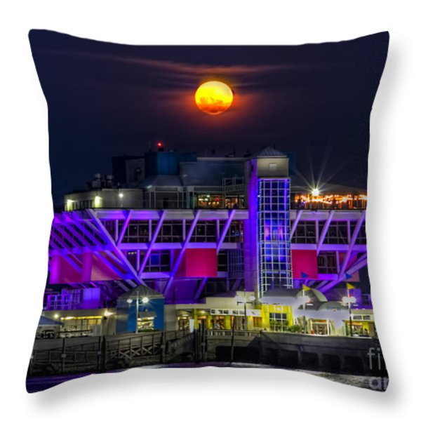 Final Moon over the Pier Throw Pillow by Marvin Spates
