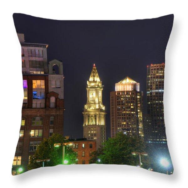 Financial District At Night - Boston Throw Pillow by Joann Vitali