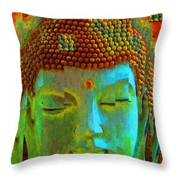 Finding Buddha - Meditation Art By Sharon Cummings Throw Pillow by Sharon Cummings