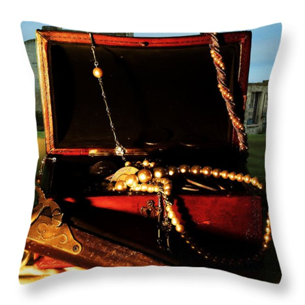 Finding Treasure Throw Pillow by Camille Lopez