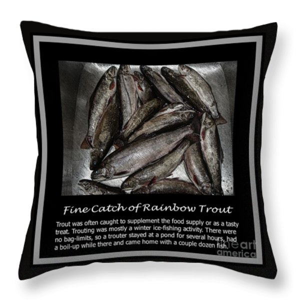Fine Catch of Rainbow Trout Throw Pillow by Barbara Griffin