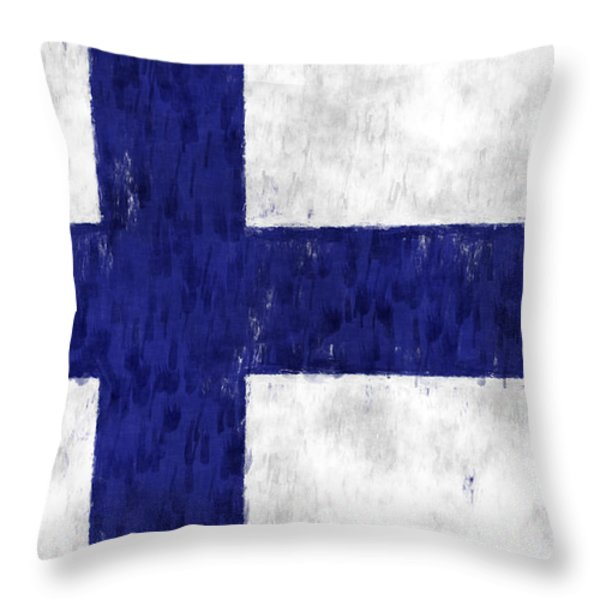 Finland Flag Throw Pillow by World Art Prints And Designs
