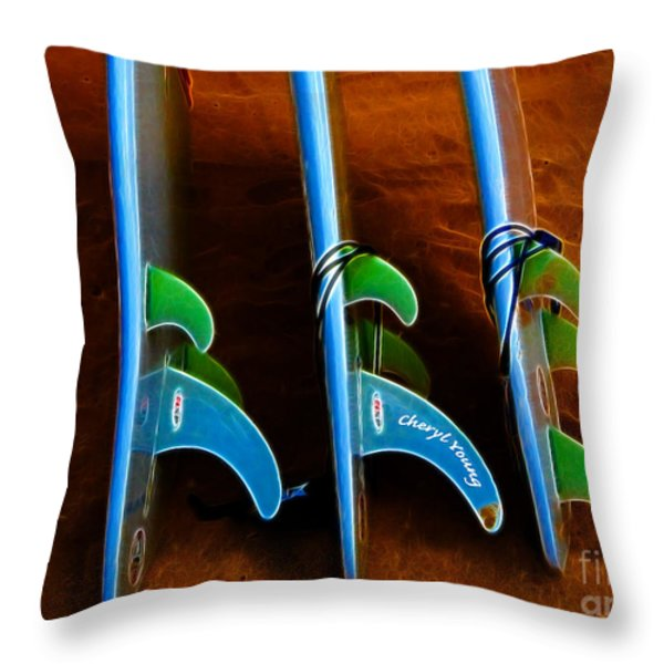 Fins Throw Pillow by Cheryl Young