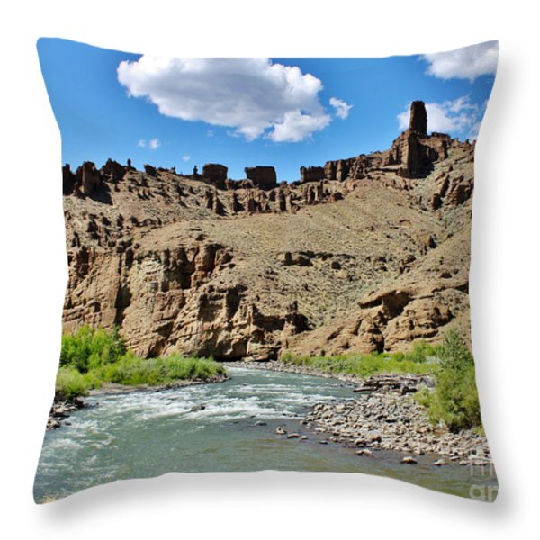 Fire And Ice Cathedral Holy City Throw Pillow by Janice Rae Pariza