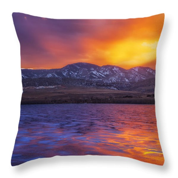 Fire and Ice Throw Pillow by Darren  White