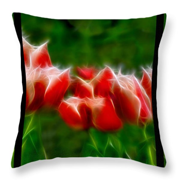 Fire and Ice Fractal Triptych Throw Pillow by Peter Piatt