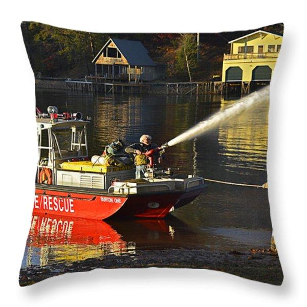 Fire Boat Throw Pillow by Susan Leggett