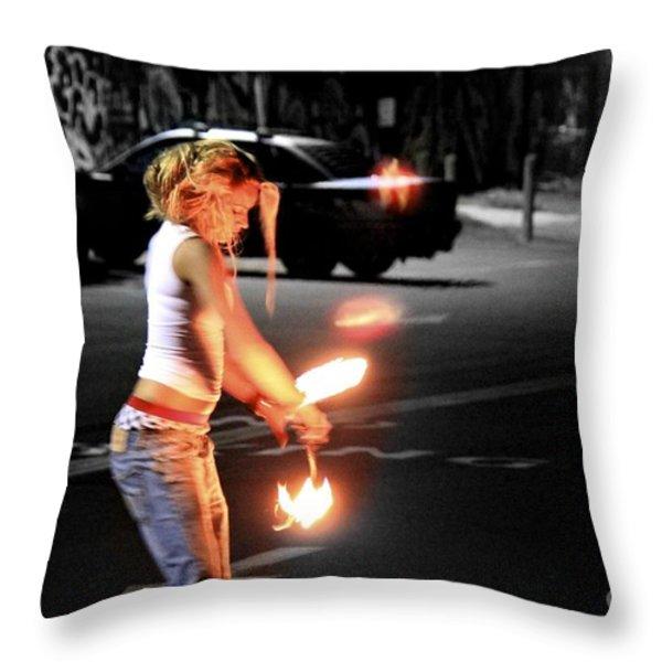 Fire Dance Throw Pillow by Alanna DPhoto