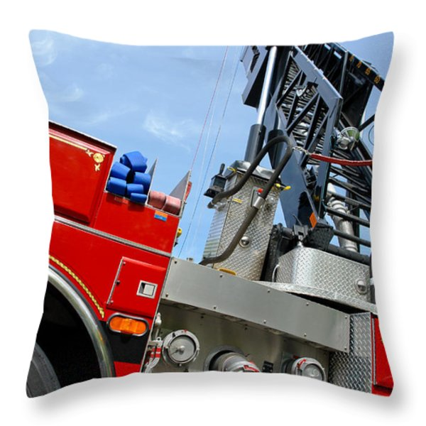 Fire Engine Throw Pillow by Olivier Le Queinec