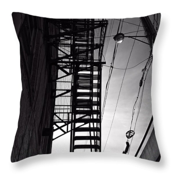 Fire Escape and Wires Throw Pillow by Bob Orsillo