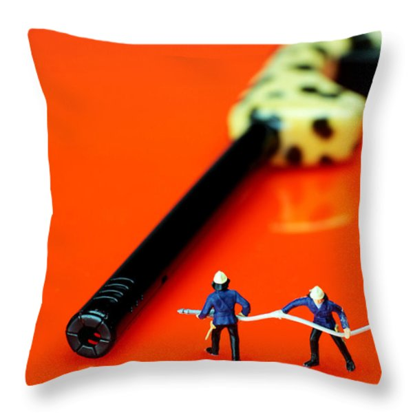 Fire fighters and fire gun little people big worlds Throw Pillow by Paul Ge