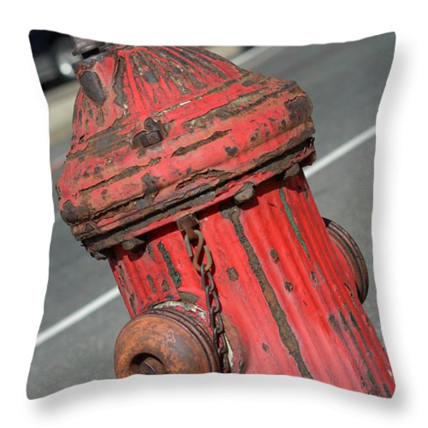 Fire Hydrant Throw Pillow by Lisa Phillips