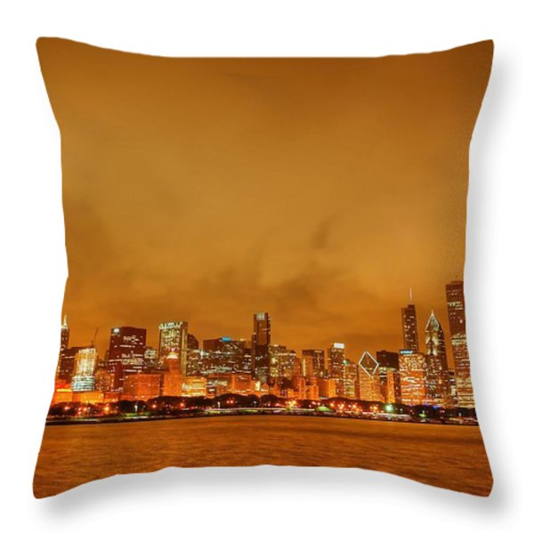 Fire in a Chicago Night Sky Throw Pillow by Ken Smith