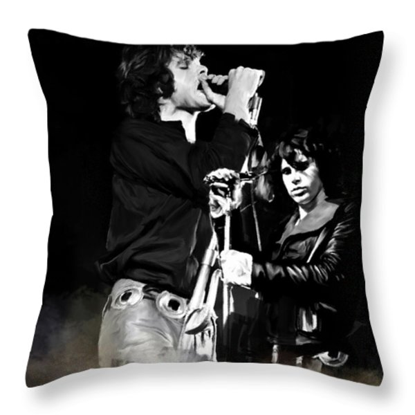 Fire In A Storm  Jim Morrison Throw Pillow by Iconic Images Art Gallery David Pucciarelli