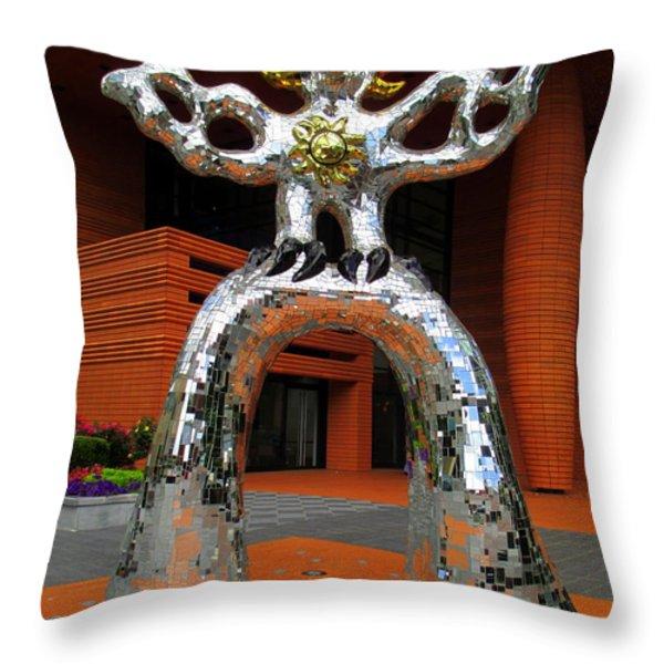Firebird At Bechtler Throw Pillow by Randall Weidner