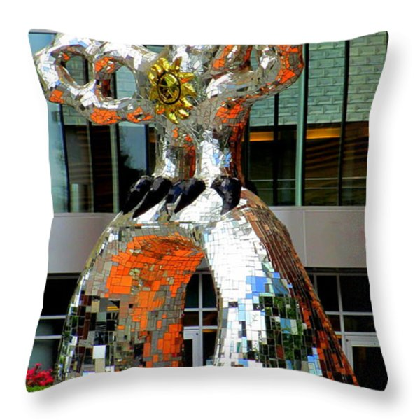 Firebird With Knight Throw Pillow by Randall Weidner