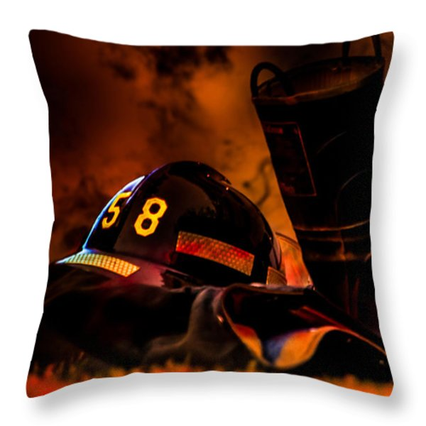 Firefighter Throw Pillow by Bob Orsillo