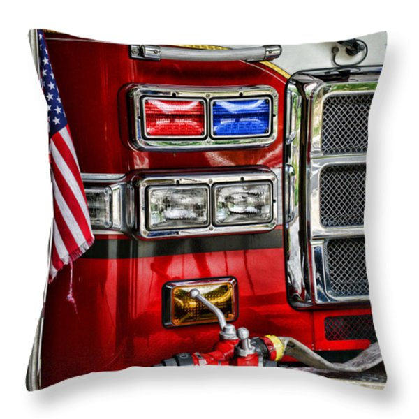 Fireman - Fire Engine Throw Pillow by Paul Ward