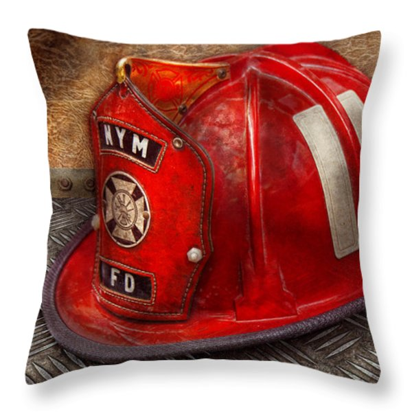 Fireman - Hat - A childhood dream Throw Pillow by Mike Savad