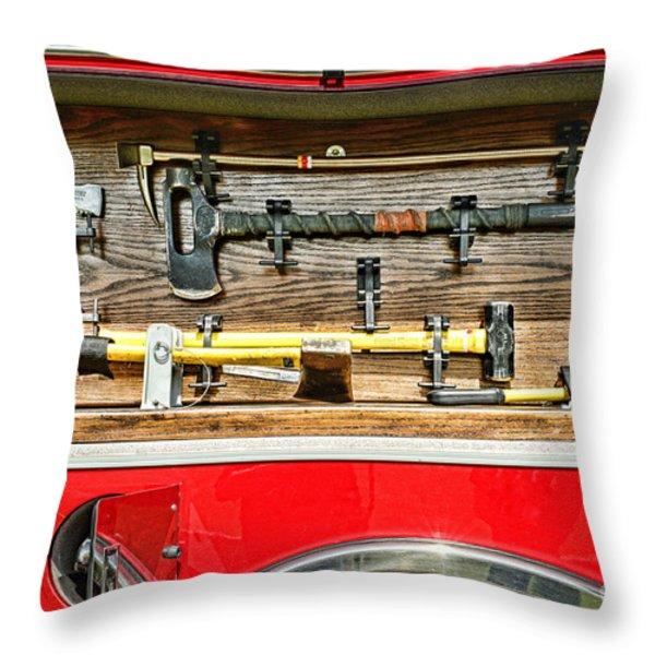 Fireman - Life Saving Tools Throw Pillow by Paul Ward
