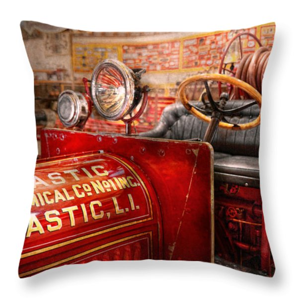 Fireman - Mastic Chemical Co Throw Pillow by Mike Savad