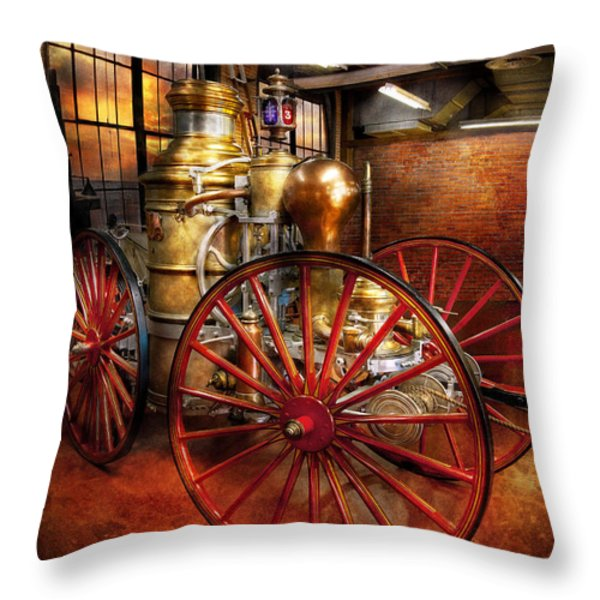 Fireman - One day a long time ago  Throw Pillow by Mike Savad