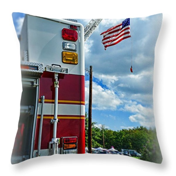 Fireman - Proudly They Serve Throw Pillow by Paul Ward