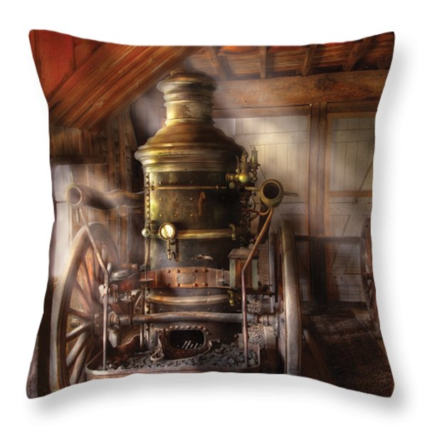 Fireman - Steam Powered Water Pump Throw Pillow by Mike Savad