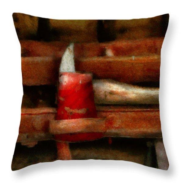 Fireman - The Fireman's Axe Throw Pillow by Mike Savad