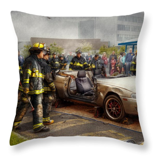 Firemen - The Fire Demonstration Throw Pillow by Mike Savad