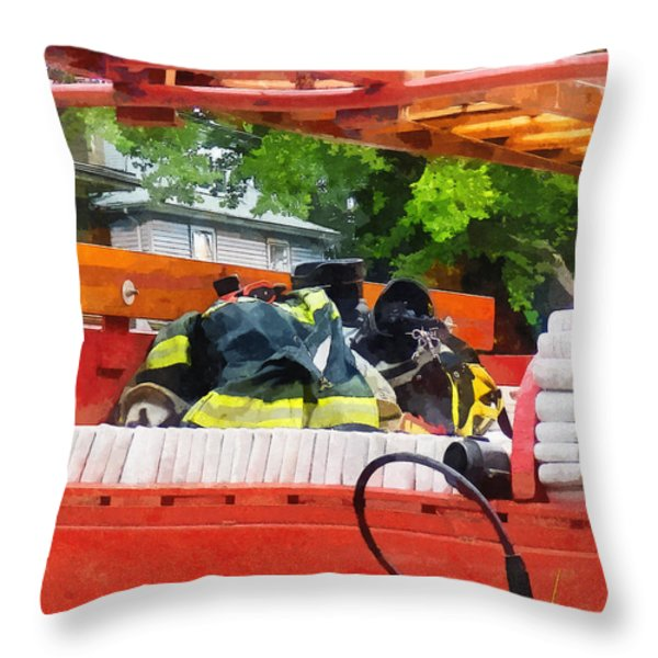 Firemen - Uniform in Back of Vintage Fire Truck Throw Pillow by Susan Savad