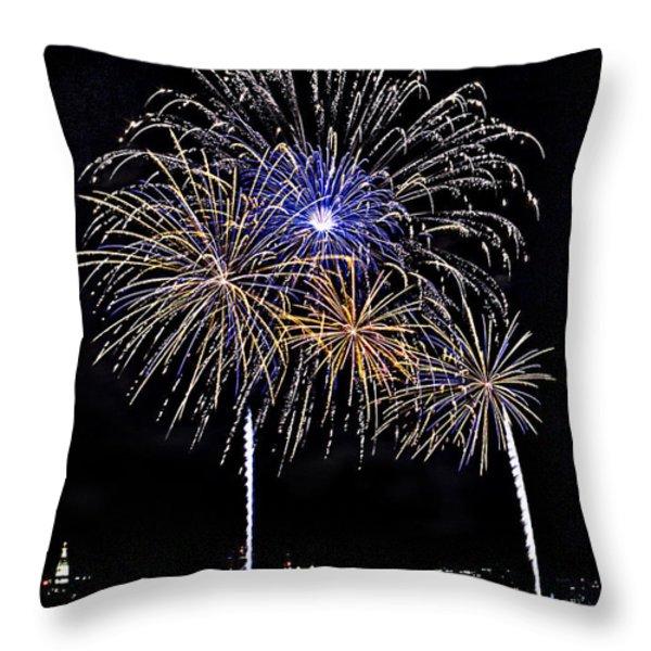 Firewoks Throw Pillow by Susan Candelario