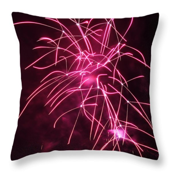 Rockets Red Glare Fireworks Throw Pillow by Howard Tenke
