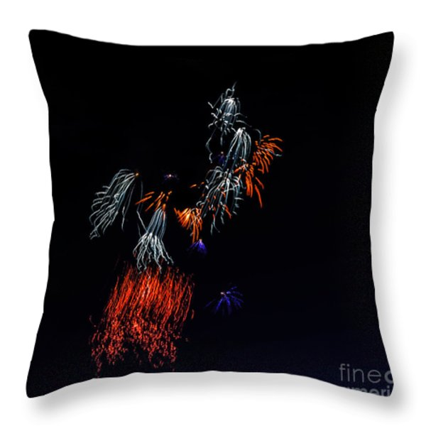 Fireworks Abstract Throw Pillow by Robert Bales
