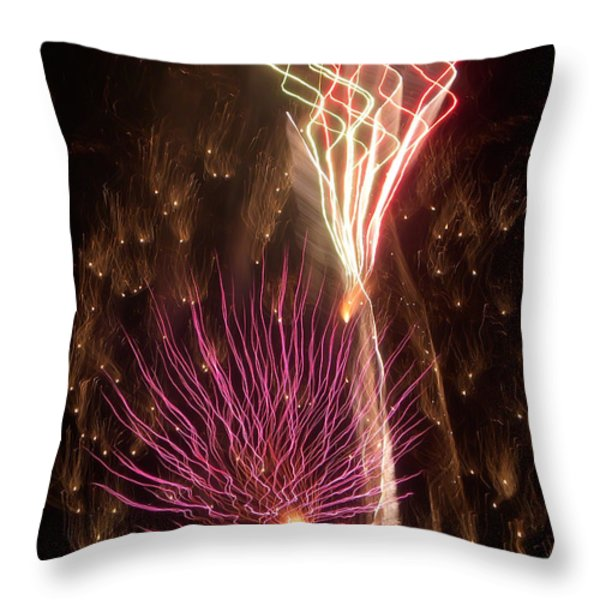 Fireworks Throw Pillow by Aimee L Maher Photography and Art