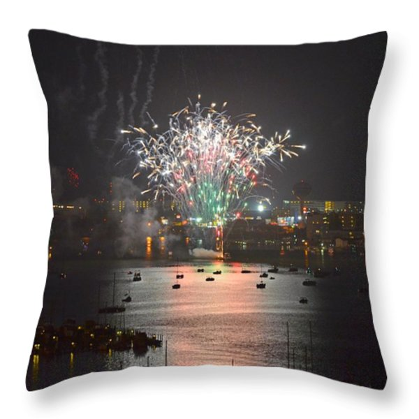 Fireworks at Night for the 4th of July over Fort Walton Beach from 14th Floor Balcony Throw Pillow by Jeff at JSJ Photography